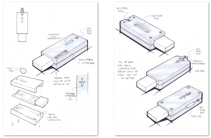 Concept drawings of proposed Injector device
