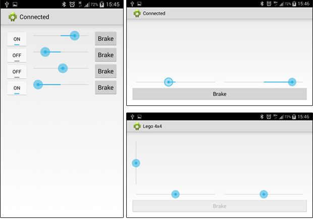 Images from the first Android test application.