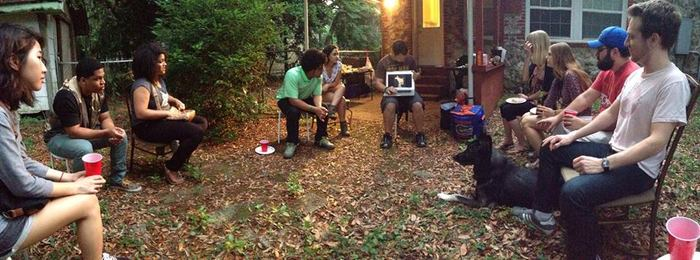 Working at an intern meeting & combined cookout.