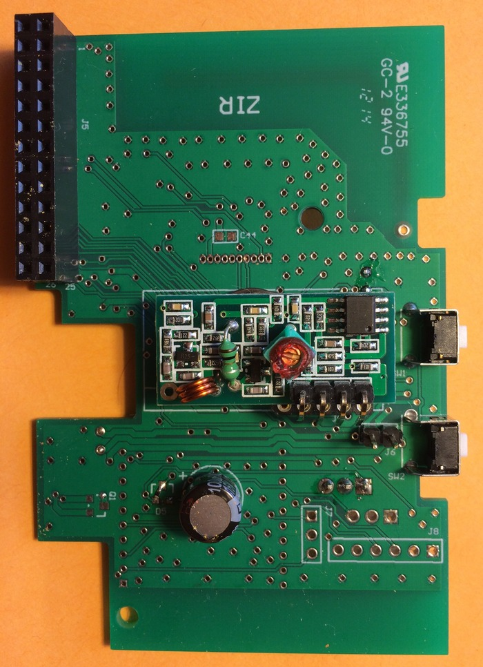 Lower view of PCB with 433/315 RF receiver