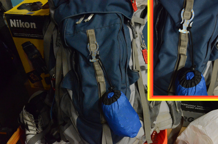 Attaching items to a backpack