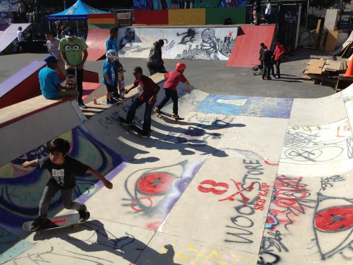 West Oakland Youth enjoying SK8 KAMP 2012 Bowl after re-installed at Town Park