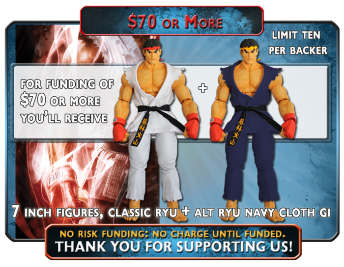 Receive both the Classic Ryu in White cloth Gi and get the Alternate Ryu in Navy Cloth Gi, Kickstarter Exclusive