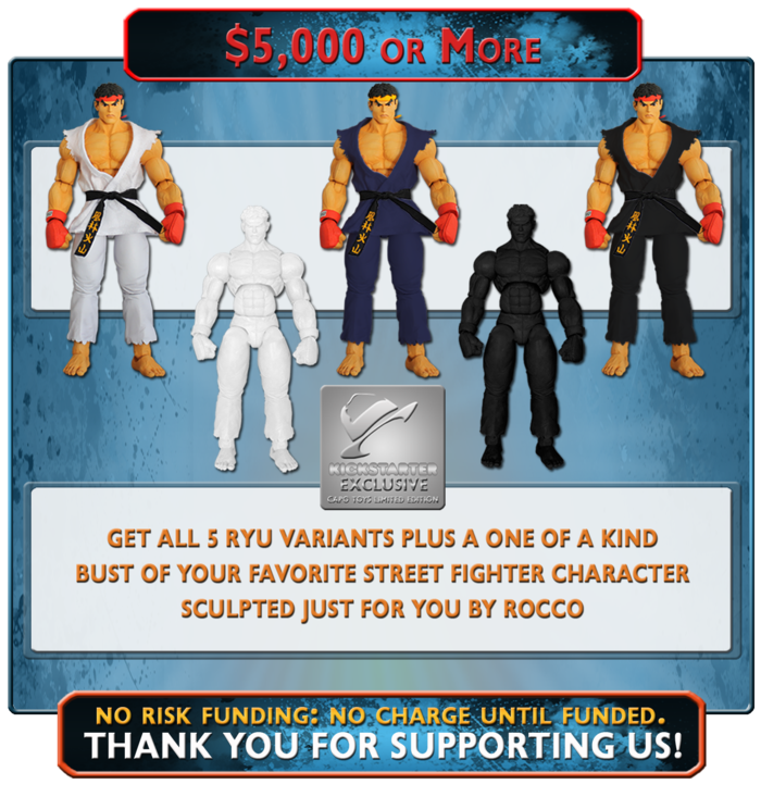 "At this level of funding you'll receive all of the Ryu Variants in the previous reward levels plus a customized, one of a kind, 6"" Bronzed Finished Bust of your favorite Street Fighter character sculpted just for you by Rocco Tartamella"