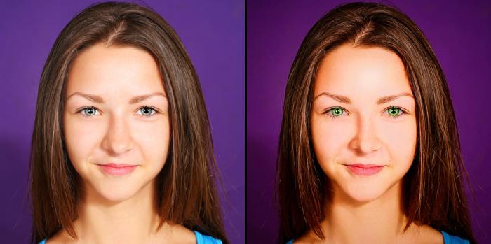 Green Eye Color + Change Nose Size + Color Preset