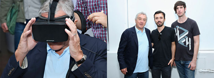 Yep, that's Robert DeNiro experiencing the RISE Oculus Rift short film at the Tribeca Film Festival