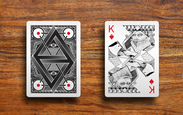 card back and king of diamonds