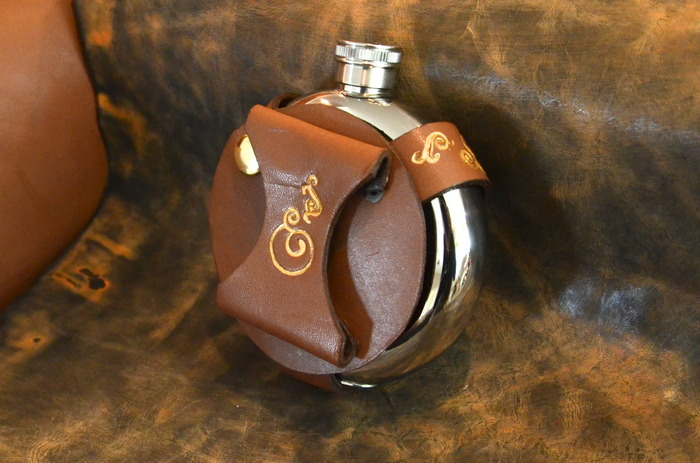Stainless Steel SteamPunk Flask with Leather Holster - Brown