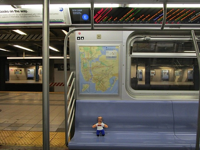 Our man riding the rails in NYC, spotted by Gary Dunaier