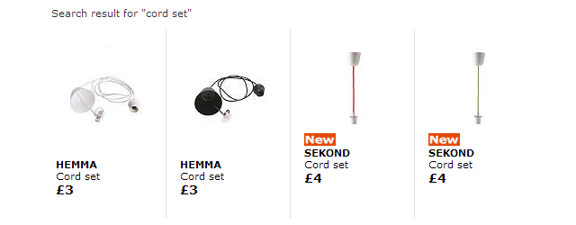 Example: Ikea cord sets work for the Hanging version