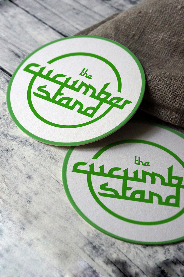 """The Cucumber Stand"" Coaster - It is hand made/ letter pressed."
