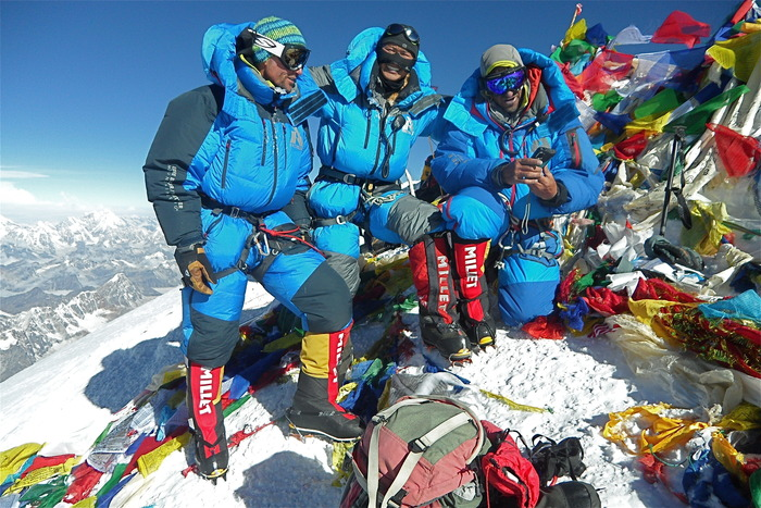 12x Everest summiter and guide, Chhiring Dorje, rocks his faceGlove Classic on the summit of Mt. Everest.  29,029 ft, -20F, May 2013