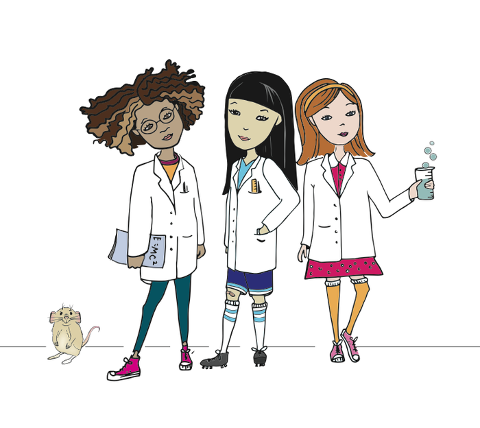 These are the three science girls (and their lab rat friend) that you can help name in the NAME THE SCIENCE GIRL reward