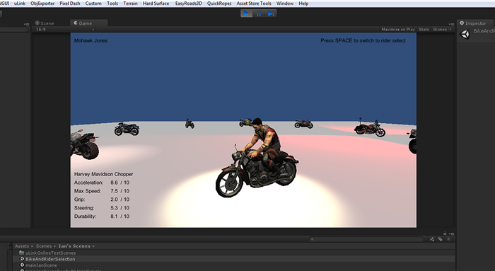 Bike and Character Select Alpha Version