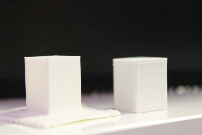 Improved prints from new pulleys (left) vs. old pulleys (right)