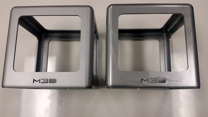 Our silver box, before (right) and after painting (left).