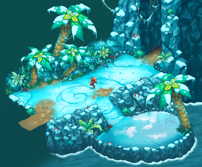 """The first real """"dungeon"""" in the game, the frosty tropical region known as Rime Rapids."""