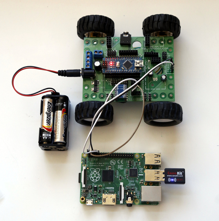 Hackabot nano compact plug and play arduino robot by