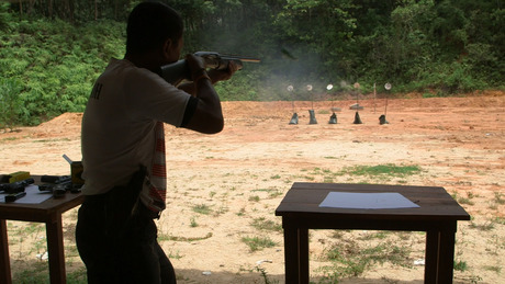 Mark Oltmanns/GlobalPost. Buddhist militiamen train at a shooting range in southern Thailand — a region plagued by Southeast Asia's bloodiest insurgency.