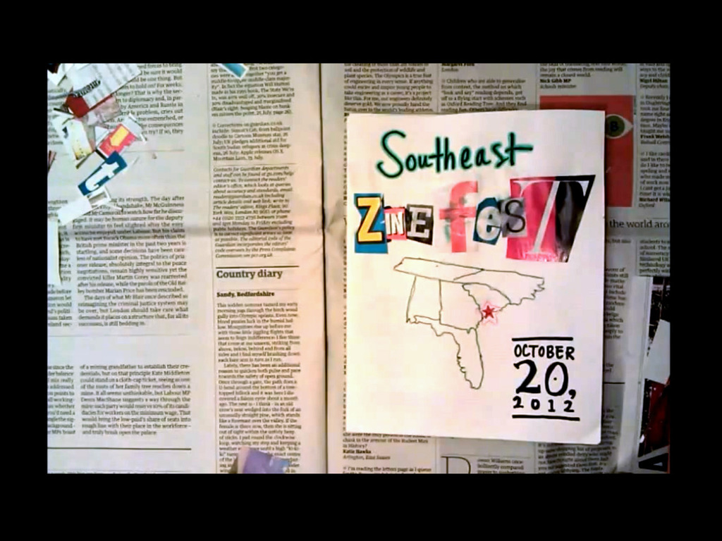 Southeast Zine Fest 2012's video poster