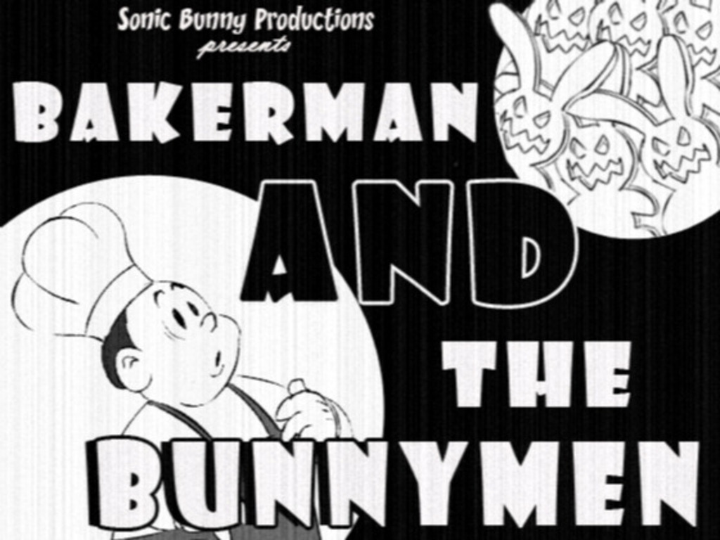 Bakerman & The Bunnymen! - 1920s-style cartoon's video poster