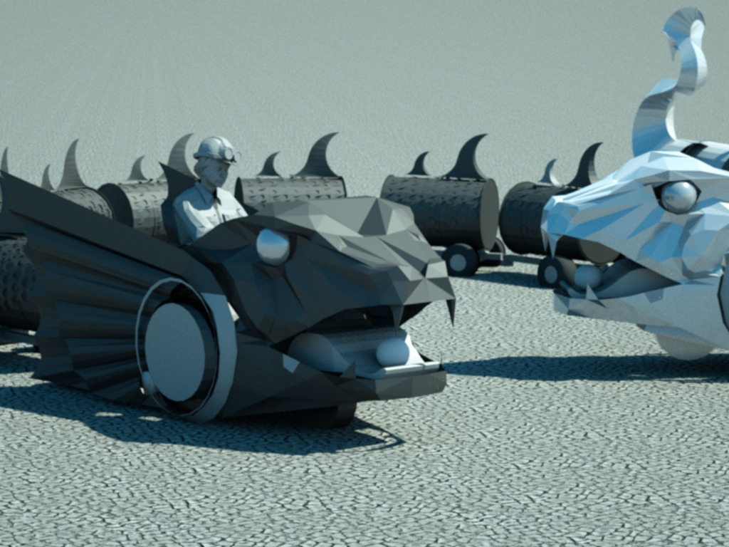 The Serpent Twins - mobile sculptures for Burning Man 2011's video poster