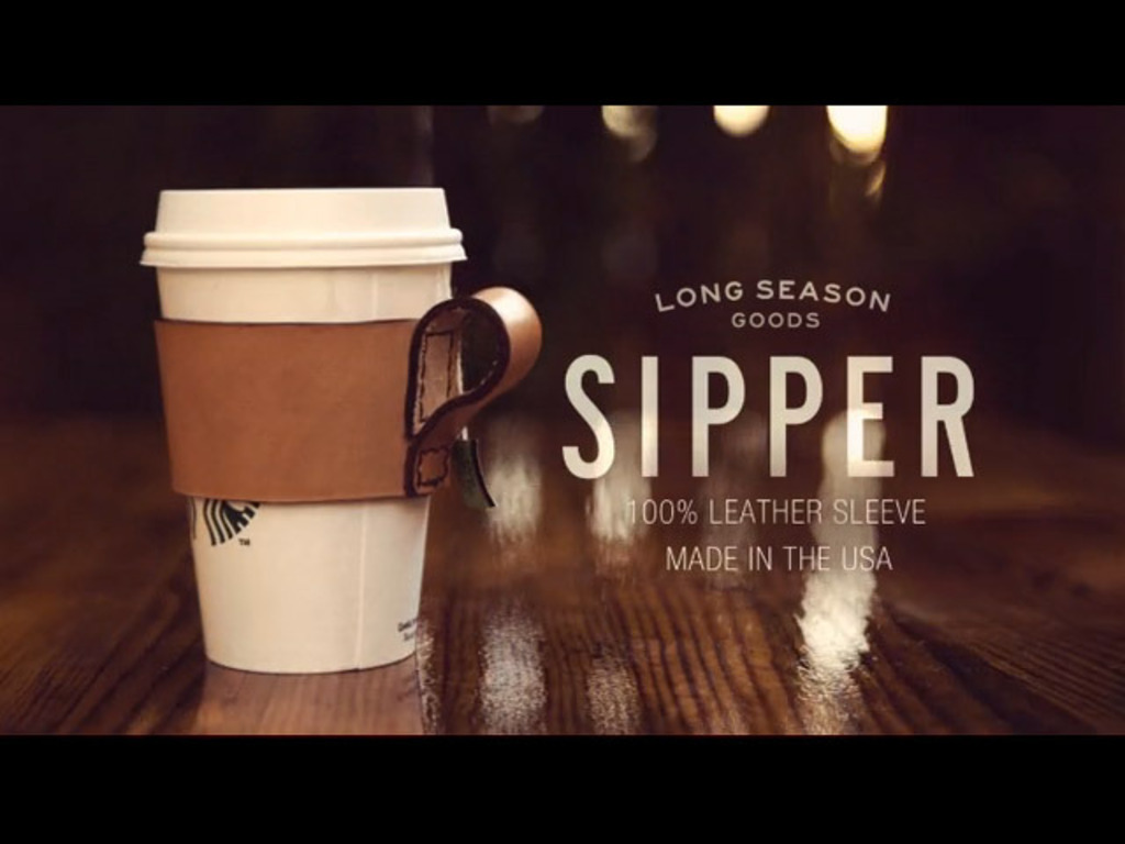 "Leather ""Sipper"" coffee cup sleeve's video poster"
