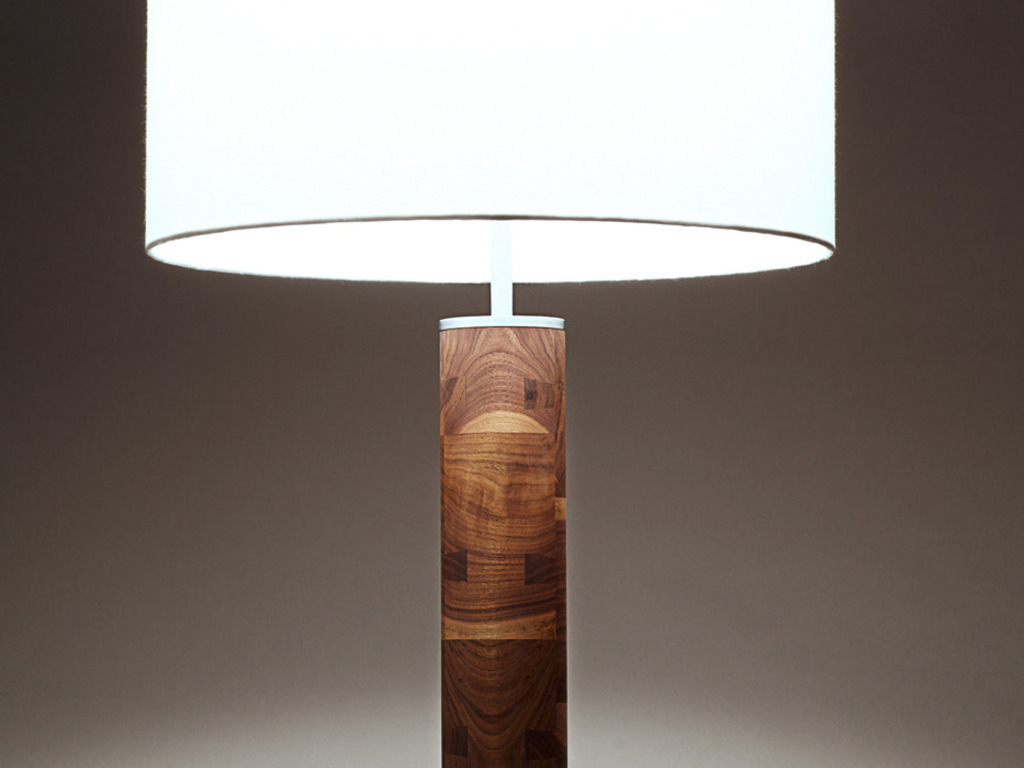 modern hardwood and steel table lamp's video poster
