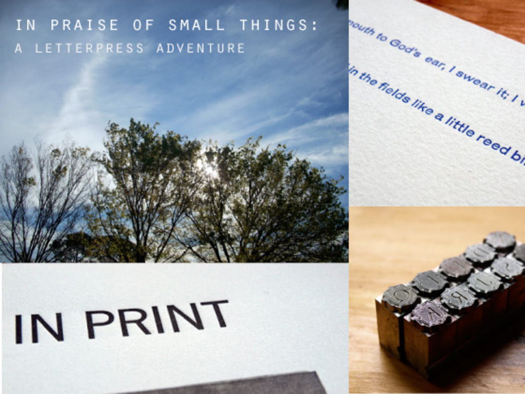 In Praise of Small Things: A Letterpress Adventure's video poster
