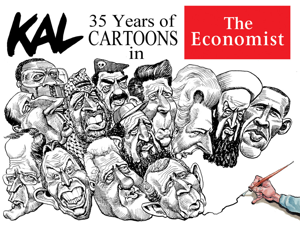 Retrospective collection of Kal cartoons from The Economist's video poster