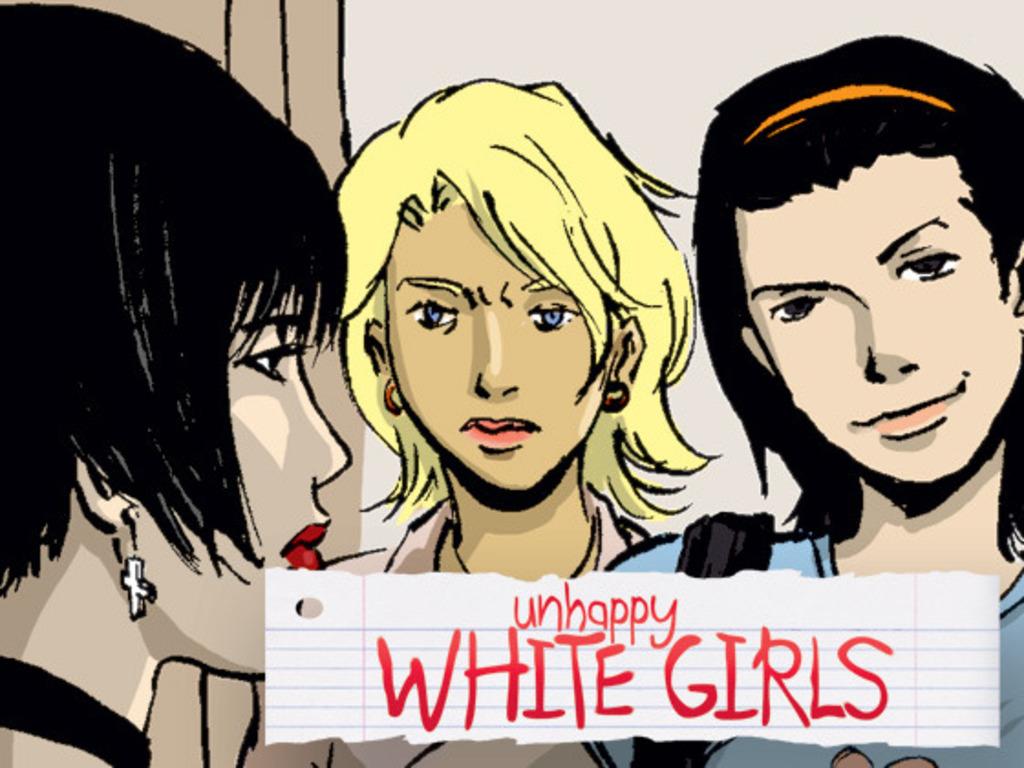 UNHAPPY WHITE GIRLS: graphic novel by Christian Beranek, Triska Tsang and Vivian Lee's video poster