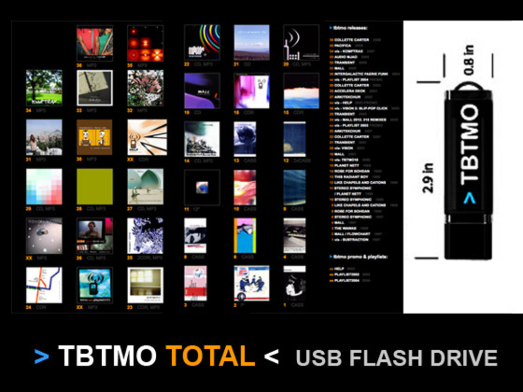 > tbtmo total < usb flash drive mp3 discography 1997-2012's video poster