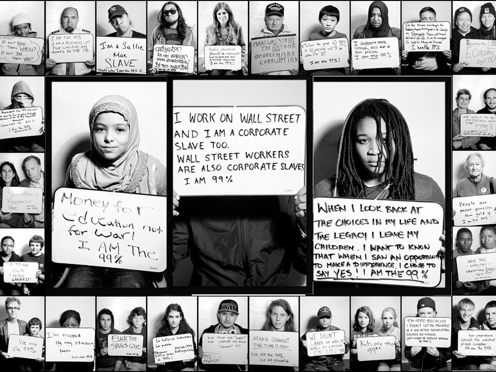 """""""We Are the 99%"""" portraits taken at Occupy Wall Street's video poster"""