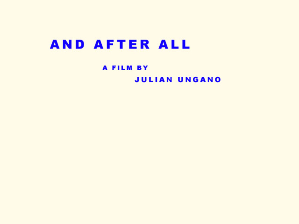 And After All's video poster