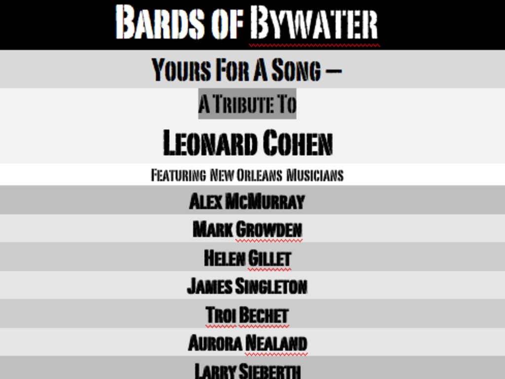 Bards of Bywater tribute to Leonard Cohen CONCERT&RECORDINGG's video poster