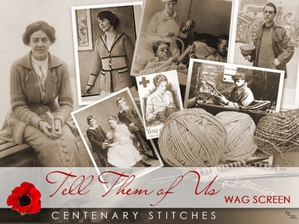 Knitted clothing for a First World War film, Tell Them of Us's video poster