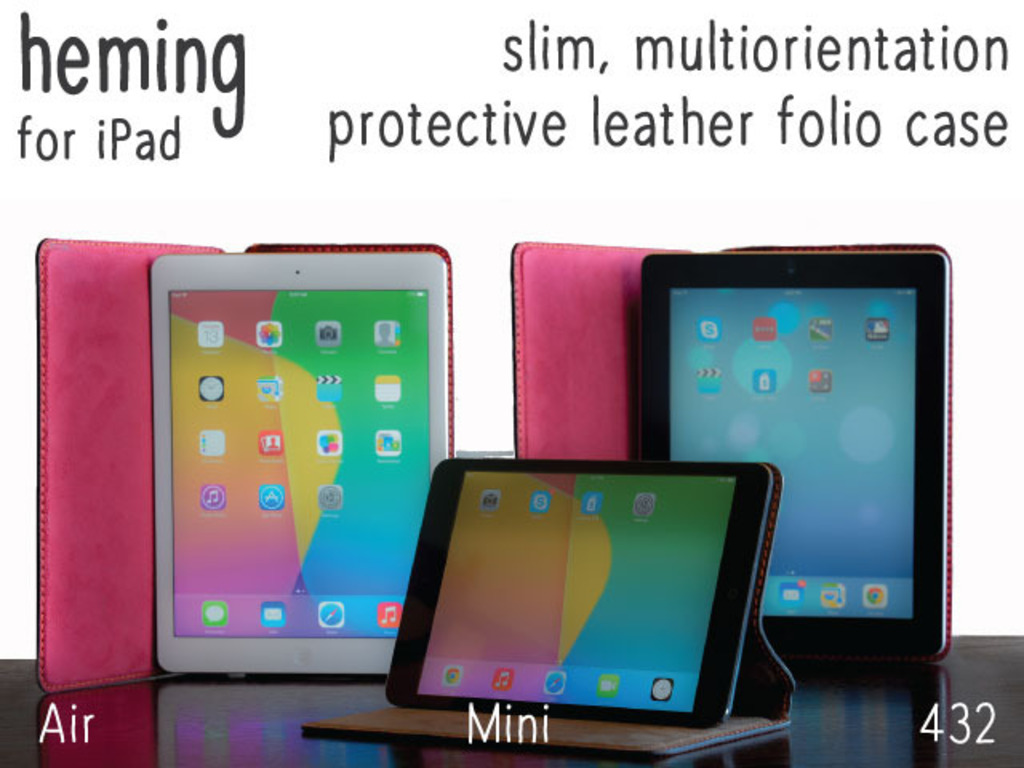 HEMING - Slim & elegant hand-stitched leather case. For iPad's video poster