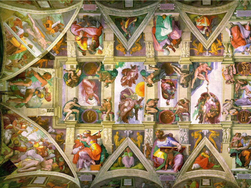 An exact copy of Sistine Chapel on my NYC studio ceiling's video poster