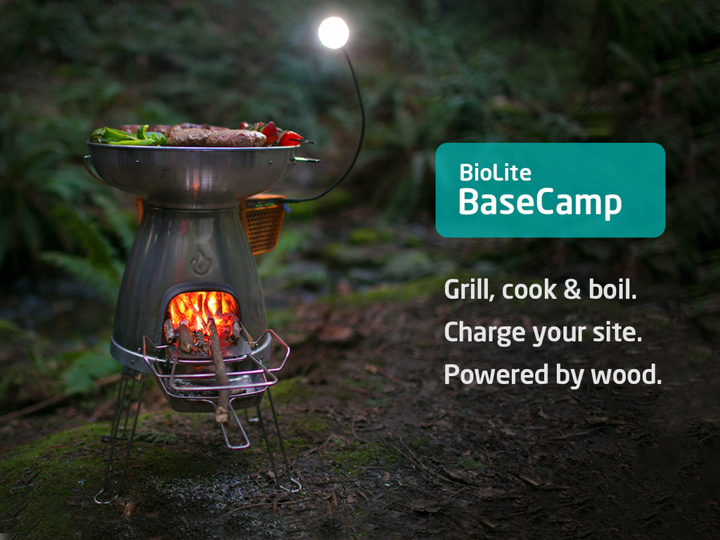 BioLite BaseCamp Stove   Turn Fire into Electricity's video poster